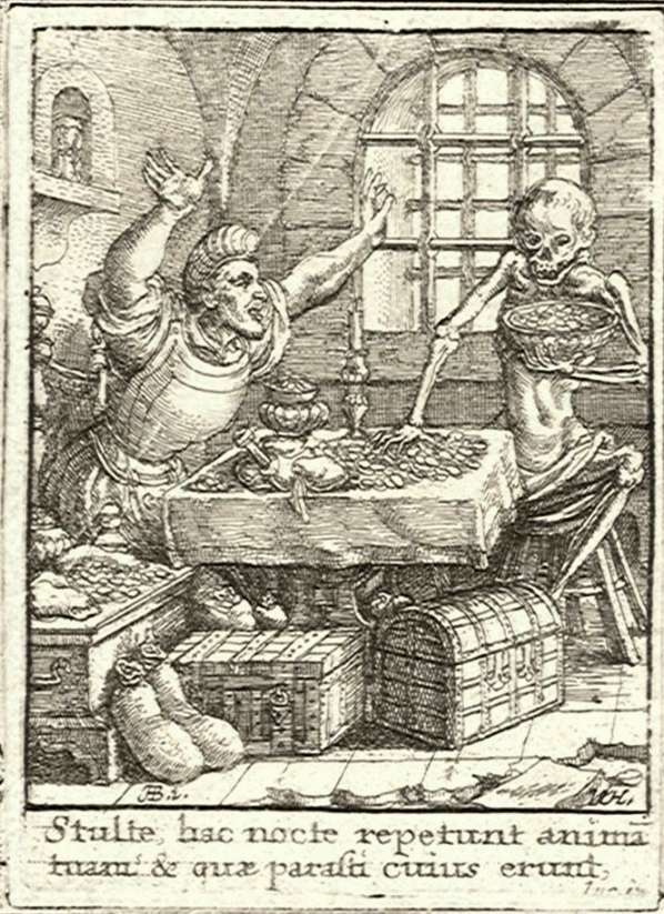 medieval image of skeleton at a dining table